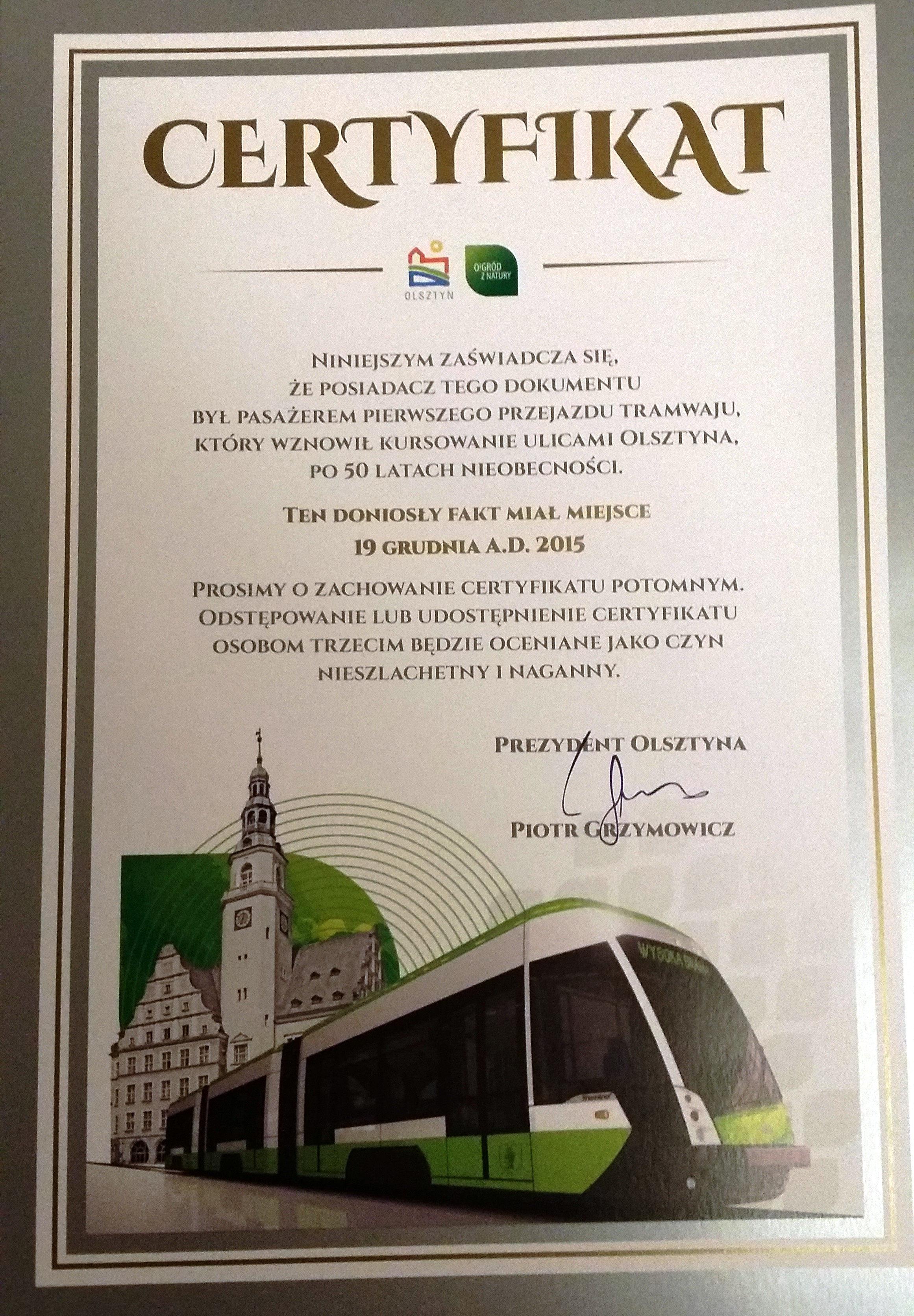 certyfikat tramwaj