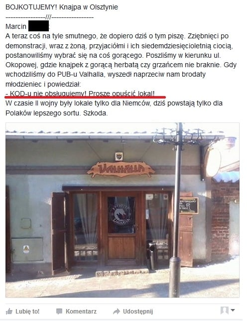 """valhalla-kod-bojkot """"KOD-u nie obsługujemy!"""". Pub w Olsztynie odpiera zarzuty"""