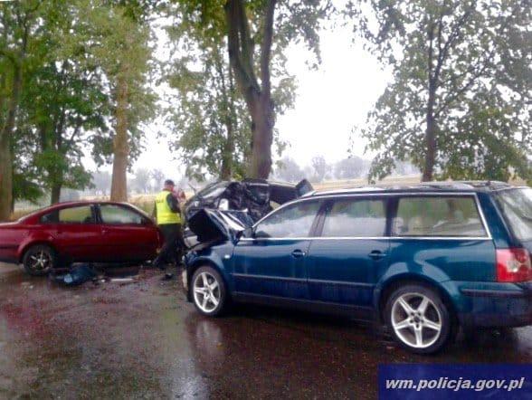 zderzenie czterech pojazdow