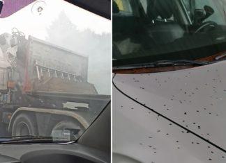 """Tajemnicza ciężarówka """"ochlapywała"""" samochody niezidentyfikowaną substancją"""