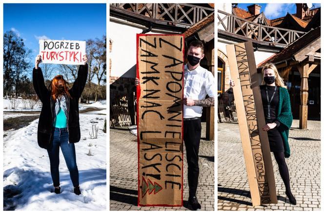 Protest branży turystycznej z Warmii i Mazur przed KPRM: chcemy pracować, nie protestować